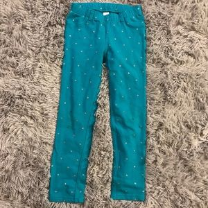 Cat & Jack Girls Teal Silver Glitter Dot Jeggings